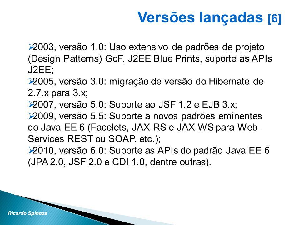 Versões lançadas [6] 2003, versão 1.0: Uso extensivo de padrões de projeto (Design Patterns) GoF, J2EE Blue Prints, suporte às APIs J2EE;